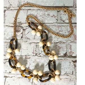 J crew long statement necklace pearls and tortoise